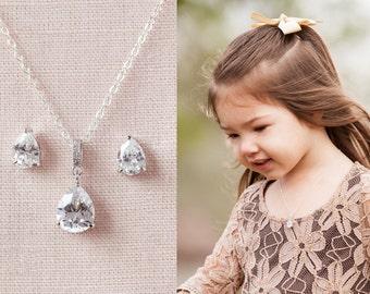 Flower Girl Jewelry SET, Rose Gold Flower Girl Earrings, Gold, Sterling Silver Bridal Jewelry, Swarovski, Flower Girl Jewelry SET