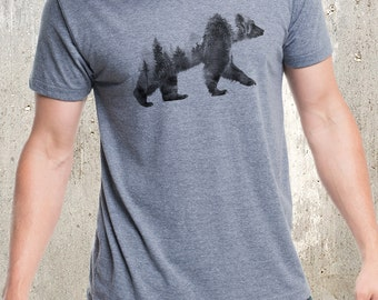 Men's Bear and Forest Double Exposure T-Shirt - Screen Printed Men's Tri-Blend T-Shirt