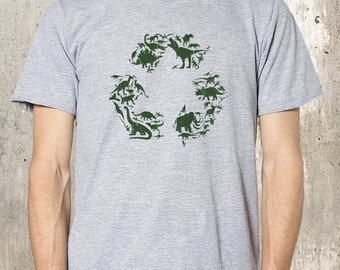 Recycled Dinosaurs Men's T-Shirt - American Apparel Screen Printed T-Shirt- Available in S, M, L, XL and XXL