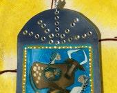 Cross Roads with Angels  - Retablo - Southwestern Christmas Ornament - Tin Ex Voto / MilagrO - Cathy DeLeRee