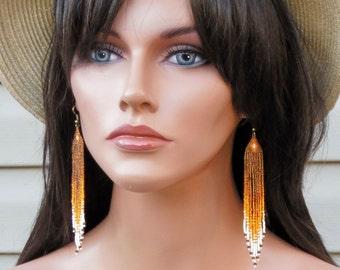 Long Seed Bead Earrings - Beaded Brown and Orange Earrings - Ombre - Topaz Fringe Earrings - 4.5 Inch Long Dangle Earrings