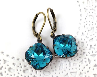 Teal Blue Earrings - Antique Brass Estate Style Swarovski Crystal Indicolite Square Cushion Cut Earrings -