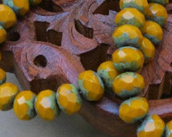 Opaque Mustard With Picasso - 6x8mm Faceted Rondelle - Czech Glass - 25 Beads