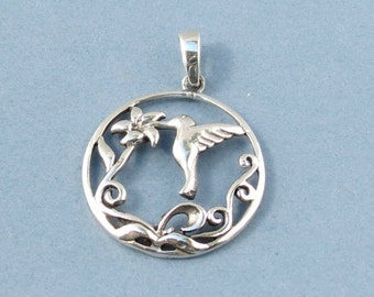 Sterling Silver Hummingbird & Flower Pendant - 22mm - Sold Per Piece