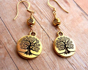 Tree of Life charm earrings in antiqued gold