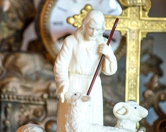 Vintage Bisque The Good Shepherd Statue, Jesus with Sheep
