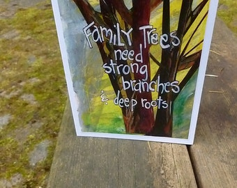Family Tree ,Ancestry, Mixed Media Card, Famiy Reunion,  Family Roots, Art Card, Celebrating the Family  by Seattle Artist Mary Klump