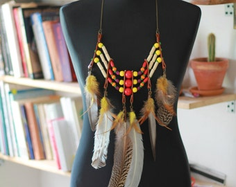 Native Spirit Tribal necklace with feathers