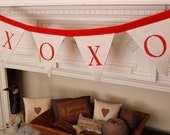 XOXO Banner -Valentine Bunting/ Valentine Decor/ Hugs and Kisses Banner (Red and White XOXO Bunting)