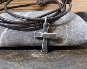 Rustic Chunky Cross - Sterling Silver - Handcrafted - Handmade - Leather Cord