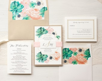 "Succulent Wedding Invitations, Gold and Blush Invitations, Anemone Florals, Calligraphy, Elegant, Envelope Liners - ""Blush Succulent"" Sample"