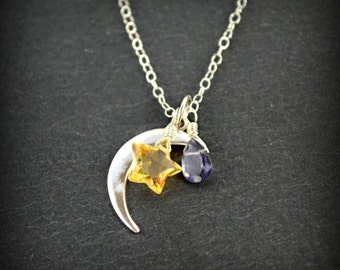 Night Sky Necklace, Sterling Silver Crescent Moon Charm, Golden Citrine Star, Ink Blue Iolite Drop, Sterling Silver Necklace, Moon Necklace