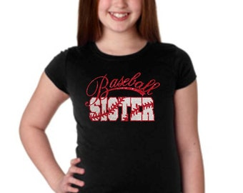 Girls Glittter Bling Baseball Sister T-shirt
