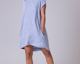 Loose tunic dress light blue dress knee lengh dress Oversize tunic midi blue dress light blue tunic