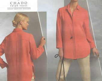 Chado Ralph Rucci Womens Shirt or Tunic & Tapered Pants OOP Vogue Sewing Pattern V1054 Size 8 10 12 14 Bust 31 1/2 to 36 UnCut