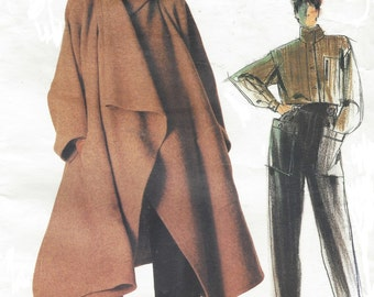 80s Issey Miyake Avant Garde Womens Coat, Shirt & Pants Vogue Sewing Pattern 1476 Size 12 Bust 34 UnCut Label Included Vogue Individualist