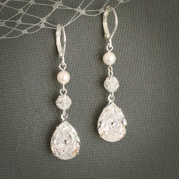PHILBERTA, Modern Vintage Style SWAROVSKI Teardrop Crystal Earrings, Statement Bridal Jewelry, Pearl and Rhinestone Bridal Earrings