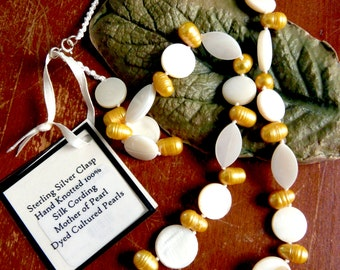 Mother of Pearl & Pearl, Knotted Silk Necklace