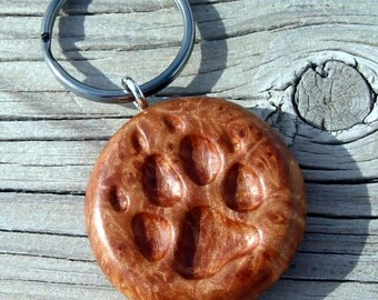 Wolf, Dog Keychain Wooden Paw Print Carving, Hand Carved Maple Burl Key Chain, Paw Keyring, Wolf Key Ring, Dog Lover, For Sale, Art by Joan