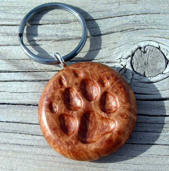 Wolf dog keychain wooden paw print carving hand carved maple