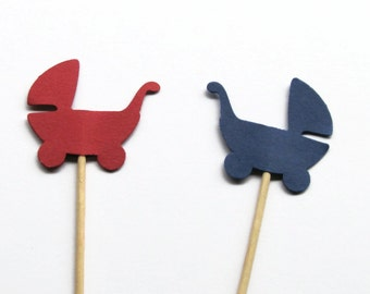 24 Red and Navy Blue Baby Carriage Party Picks, Food Picks, Cupcake Toppers