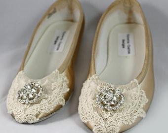 Champagne Wedding  Flat - Lace Flats