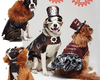 "Simplicity Pattern 1031 Dog Steampunk Clothes, Cape and Top Hats Sizes S-L: 8""-18"" Back Length NEW"