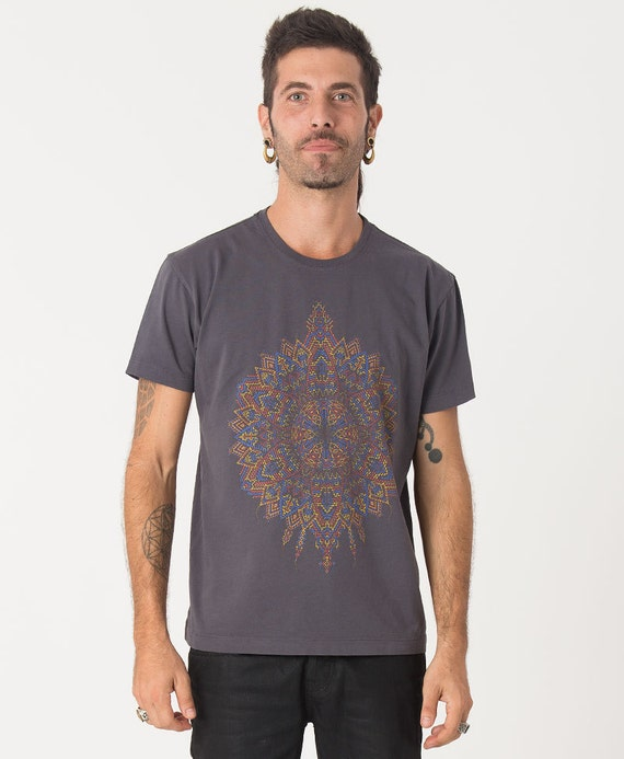 Grey Psychedelic T Shirt Mens Tee Screen Printed By Iiisoliii