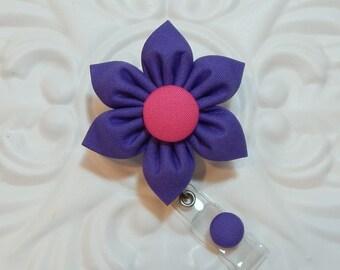 Retractable Badge Holder - Id Badge Reel - Badge Holder - Teacher Lanyard - Purple
