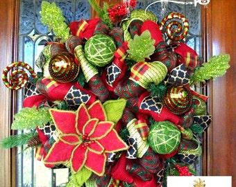 Whimsical Burlap Flower Christmas Wreath, Whimsical Christmas Wreath, Christmas wreath, deco mesh wreath, wreath, Christmas decorations