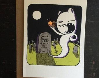 ghost bear halloween greeting card,  screen printed card, halloween card, ghost card