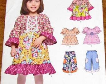 Simplicity New Look 6317 Baby Girl Toddler Boho Dress, Top, Pants, Sewing Pattern Size 1/2 1 2 3 4 Chest 19 20 21 22 23 Uncut Factory Folds