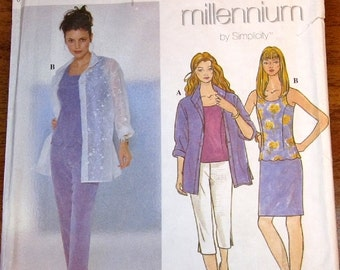 Sewing Pattern Simplicity Millennium 8685 Fitted Scallop Top Shirt Skirt Pants Womens Misses Size 12 14 16 Bust 34 36 38 Uncut Factory Folds