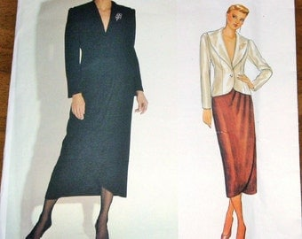 Vintage 1980s American Designer Sewing Pattern Vogue 1062 Calvin Klein Tulip Skirt, Jacket Womens Misses Size 10 Bust 32 Uncut Factory Folds