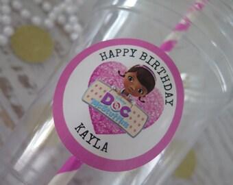 Doc McStuffins • Plastic Disposable Party Favor Cups w/ Lids, Straws & Tags • Set of 12