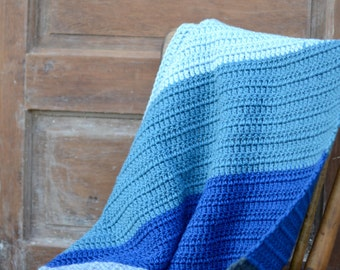 Blue and Grey Color Block Throw Blanket Baby Blanket
