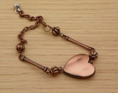 Valentines Day Bracelet heart bracelet copper bracelet adjustable bracelet fun bracelet
