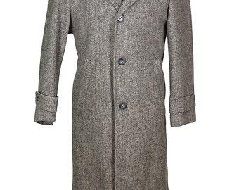 42 Short Harris Tweed Speckeled Thick Quality Gray Men's Tweed Overcoat
