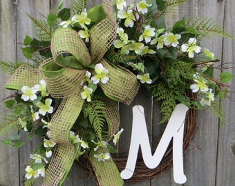 Spring Dogwood Wreath - Spring Green Wreath -  Green Dogwood Front Door Wreath Decor, Monogram Springtime Wreath, Spring Woodland Wreath
