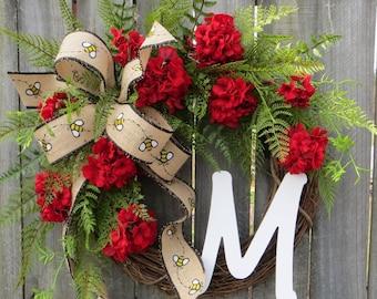 Front Door Wreath, Door Wreath, Spring Wreath, Sunflower Wreath, Spring and Summer Wreath, Monogram Wreath, Burlap Bow, Burlap Wreath