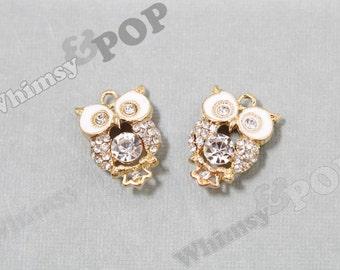 1 - Gold Plated Alloy Owl Bird Pearl Crystal Rhinestone Charm, Owl Charm, Owl Pendant, 21mm x 14mm (5-6H)