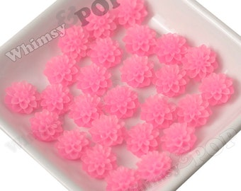 15mm - Frosted Bubblegum Pink Chrysanthemum Flower Cabochons, Flower Cabs, Dahlia Flatbacks, Mum Shaped, Chrysanthemum Cabochons, (R3-084)
