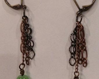 Jade Copper Gunmetal Dangle Earrings