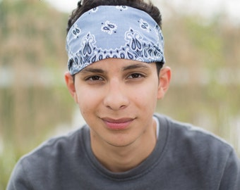 Men's Fabric Bandana, Silver Gray Headband, Bandanna Hair Scarf, Man Headwrap, Light Gray Head Wrap, Gray Headscarf for Men (#4013) S M L X