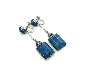 Art Deco Earrings.  Lapis Lazuli Pendants, Marcasites, Sterling Silver. Gemstone Dangle Screw Backs. Vintage 1920s 30s Art Deco Jewelry
