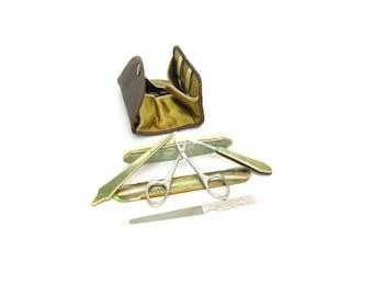 Manicure Set. Portable Kit. La Cross Nail Tools. Art Deco Green Pearl Celluloid. Brown Leatherette Case. Vintage 1920s Travel Beauty Kit.
