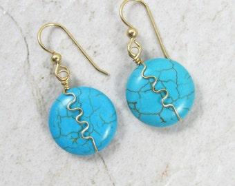 Turquoise Earrings, Gold Wire Wrapped, Blue Turquoise Gemstones, Gemstone Jewelry, December Birthstone, Christmas Gift Idea, Boho Fashion