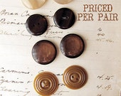 vintage button pairs - Moonglow celluloid 1940s 1950s 1960s - toffee, coffee and chocolate brown - PRICE PER PAIR