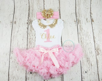 girl 1st birthday outfit, gold and pink, pink tutu outfit, birthday outfit, 2nd birthday outfit, 1st birthday outfit, first birthday girl
