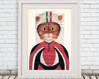 Cat with helmet, moto cat, Digital Print Poster Drawing Illustration Giclee Mixed Media Art Acrylic Painting Holiday Coco de Paris